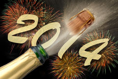 New year 2014. With champagne Royalty Free Stock Photography