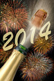 New year 2014. With champagne Royalty Free Stock Images
