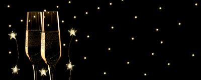 New year champagne banner, stars led and stars background. New year Champagne banner stars background stock image