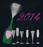 New Year 2014 Champagne on Black. Stylized champagne bottle with six glasses to celebrate New Years Eve Royalty Free Stock Image