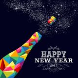 New year 2015 champagne bottle poster design. Happy new year 2015 greeting card or poster design with colorful triangle champagne explosion bottle and vintage royalty free illustration