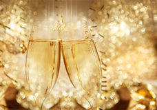 New Year champagne clink glasses Royalty Free Stock Images