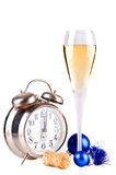 New year champagne and clock Royalty Free Stock Images