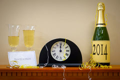 2014 New Year Champagne and clock Royalty Free Stock Photos