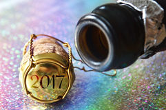 New Year champagne cork. On shiny background Royalty Free Stock Photo