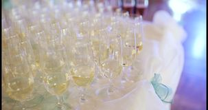 New Year Champagne Flutes. Champagne. many champagne Flutes with Sparkling Champagne over new year party Background stock video