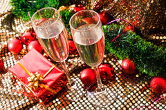 New Year champagne glasses Stock Photography