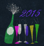 New Year 2015 Champagne Royalty Free Stock Photos