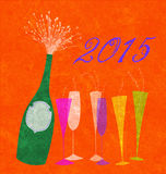 New Year 2015 Champagne. Retro festive uncorked champagne bottle with six multicolored glasses Royalty Free Stock Photo