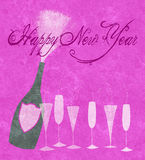 New Year 2014 Champagne. Stylized champagne bottle with six glasses to celebrate New Years Eve Stock Images