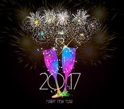 New year champagne toast 2017 background.  Stock Photo
