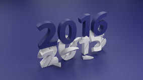 2016 New year change concept. 3d render Vector Illustration