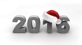 New Year 2016. Year Change from 2015 to 2016 marked with red santa hat Stock Image
