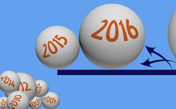 New Year changeover through illustration with 3d balls Royalty Free Stock Images