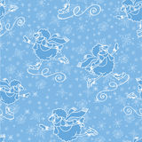 New year cheep skating.Christmas.Seamless pattern Royalty Free Stock Photo