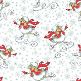 New year cheep skating.Seamless pattern.Christmas. Seamless pattern.Cute cartoon sheep with  snowflakes figure skating.Winter sport.Symbol 2015 year sheep.Use Stock Photography