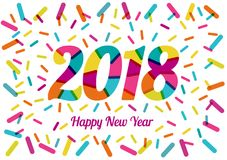 2018 New Year with cheerful colors and colored decorative shapes. Mixed flat colors. For design of posters, invitations, cards, brochures and calendars. Vector Stock Images