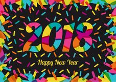 2018 New Year with cheerful colors and colored decorative shapes. Mixed flat colors. For design of posters, invitations, cards, brochures and calendars. Vector Stock Photo