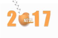 2017 New Year chicken. Chick broken egg Stock Image
