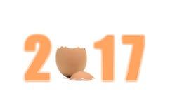 2017 New Year chicken. Chick broken egg Royalty Free Stock Photos
