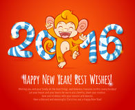 New year chinese card with monkey 2016 year Royalty Free Stock Photography