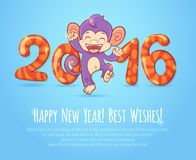 New year chinese card with monkey 2016 year Stock Photography