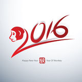 New year 2016. Chinese new year 2016 year of monkey Text Design,vector illustration vector illustration