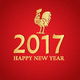 New Year 2017 Chinese symbol of Rooster. Red and gold colored greeting card design Royalty Free Stock Photo