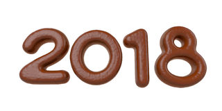 New 2018 year chocolate bar figures Royalty Free Stock Photos