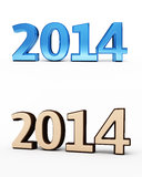 New Year 2014. Chocolate and blue render ( on white and clipping path Royalty Free Stock Image