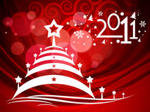 New year & Christmas background. 2011 card beautiful  illustration of Christmas and new year Royalty Free Stock Photo