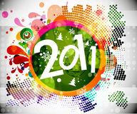 New year & Christmas background. 2011 card beautiful  illustration of Christmas and new year Royalty Free Stock Photography