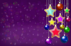 New Year and Christmas background with balls and stars. Colorful greeting card frame in purple colors Stock Photo