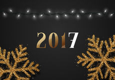 New Year 2017. Christmas background black color with realistic garlands and beautiful snowflakes. Template christmas greeting card. Xmas Holiday and Happy New Royalty Free Stock Images