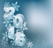 2016 New Year Christmas Background. Blue silver 2016 and abstract snowflakes and swirls ornament decorations Christmas or New Year design background Royalty Free Illustration