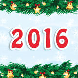 New Year 2016. Christmas and New Year background with Christmas tree and Christmas decorations .New Year 2016 Royalty Free Illustration