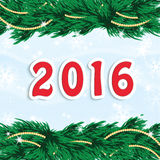 New Year 2016. Christmas and New Year background with Christmas tree and Christmas decorations .New Year 2016 Royalty Free Stock Images