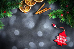 New year or Christmas background with fir tree and bokeh lights Stock Images