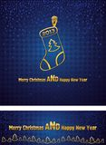 New Year and Christmas background with a gold Chri Stock Image