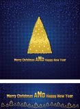 New Year and Christmas background with a gold tree Royalty Free Stock Photos