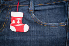 New year, Christmas background. Jeans texture Stock Images