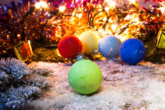 New year, Christmas background with multi color Christmas decorations. Stock Photo