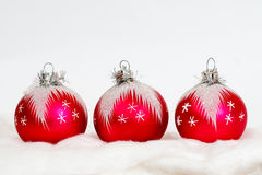 New year christmas background - red balls Royalty Free Stock Photos