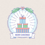 New Year and Christmas badge with gift boxes. Stock Photo