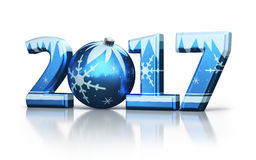 New Year 2017 and Christmas ball Stock Photo