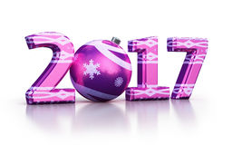 New year 2017 and Christmas ball. 3d render New year 2017 and Christmas ball isolated on white and clipping path Stock Image
