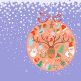 New Year and Christmas ball with decorations toys Stock Photography