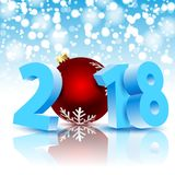 New Year 2018 with Christmas ball Royalty Free Stock Photos