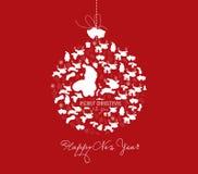 New year and christmas ball postcard.  Royalty Free Stock Photo