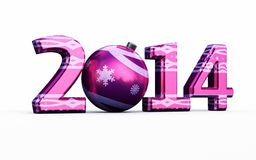 New Year 2014. And Christmas ball ( on white and clipping path Vector Illustration